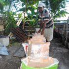 Sagu bagi warga Umera Pulau Gebe tak sekadar bahan pangan tetapi menjadi sumber utama pendapatan.  Tampak seorang warga  mengarungkan sagu yang selesai di remas di kawasan pantai desa Umera/foto M Ichi
